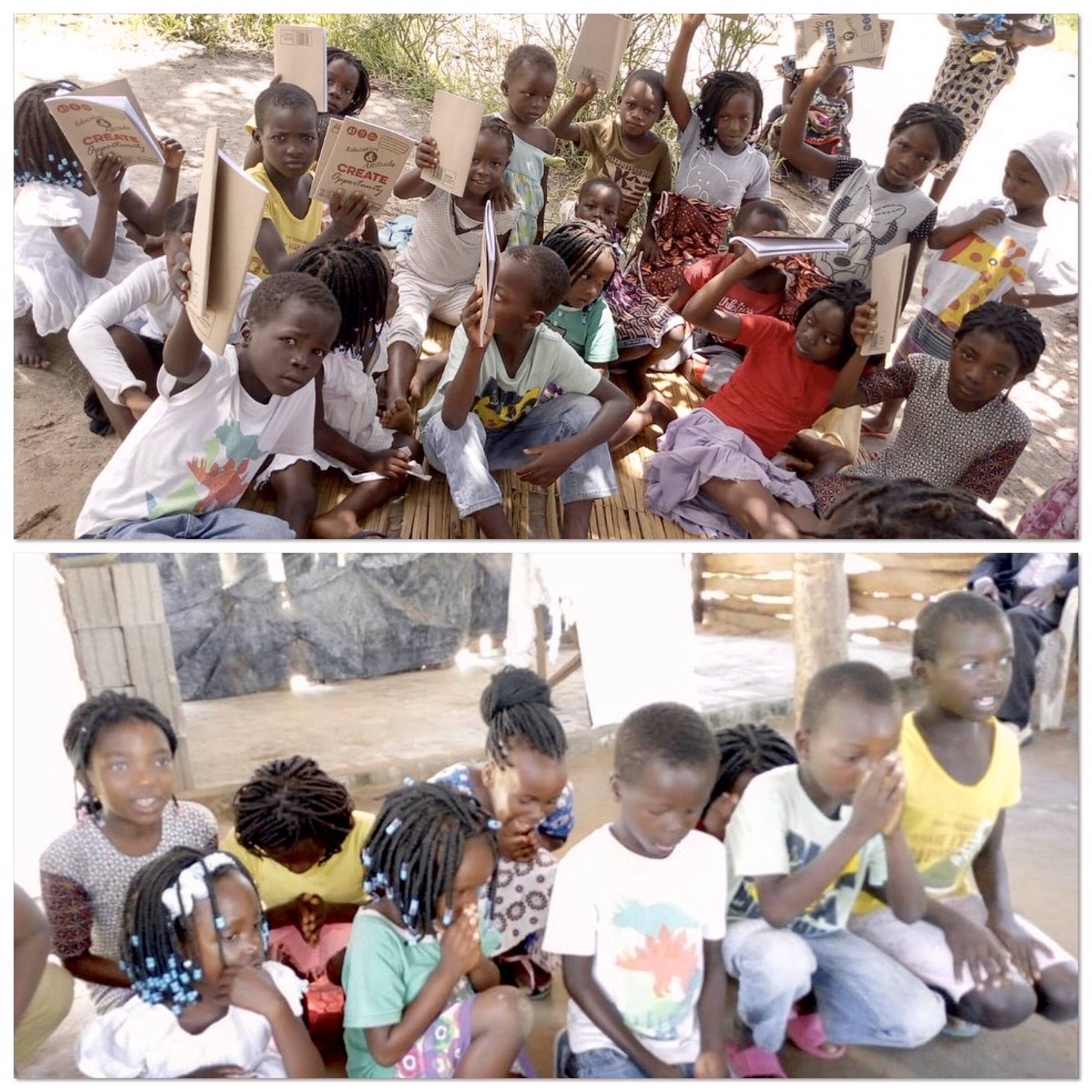 Crianças agradecendo e recebendo material escolar. TDC